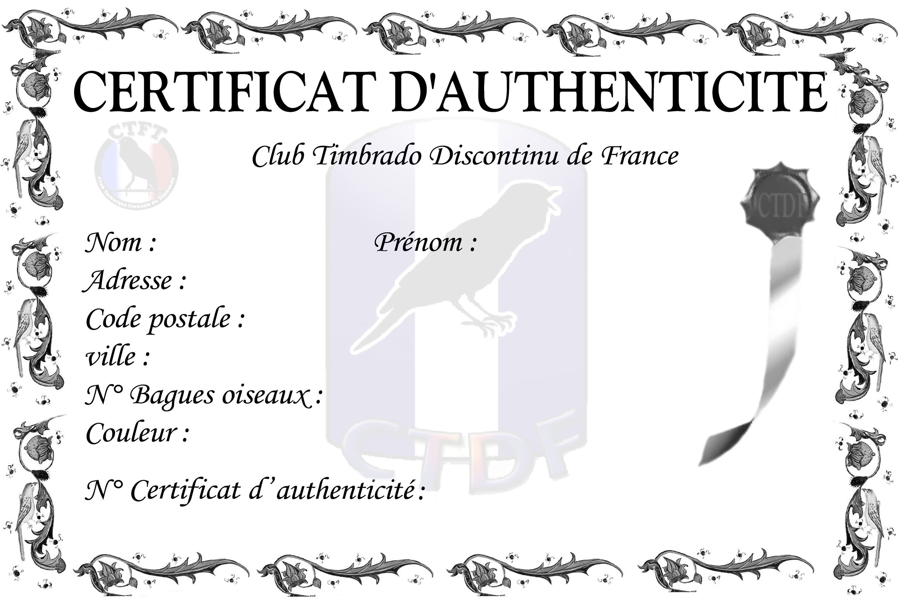 certificat d`authenticité